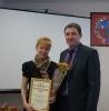 вручение Приветственного адреса с Днем рождения  бухгалтеру Тальменского поссовета Т.В. Афонасьевой